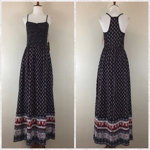 Band of Gypsies Smocked Floral Maxi Dress